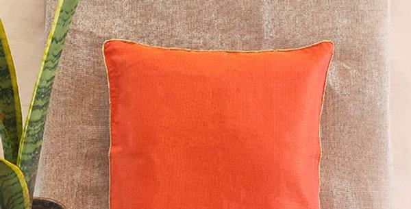 Handmade Solid Orange Kota Festive Cushion Cover