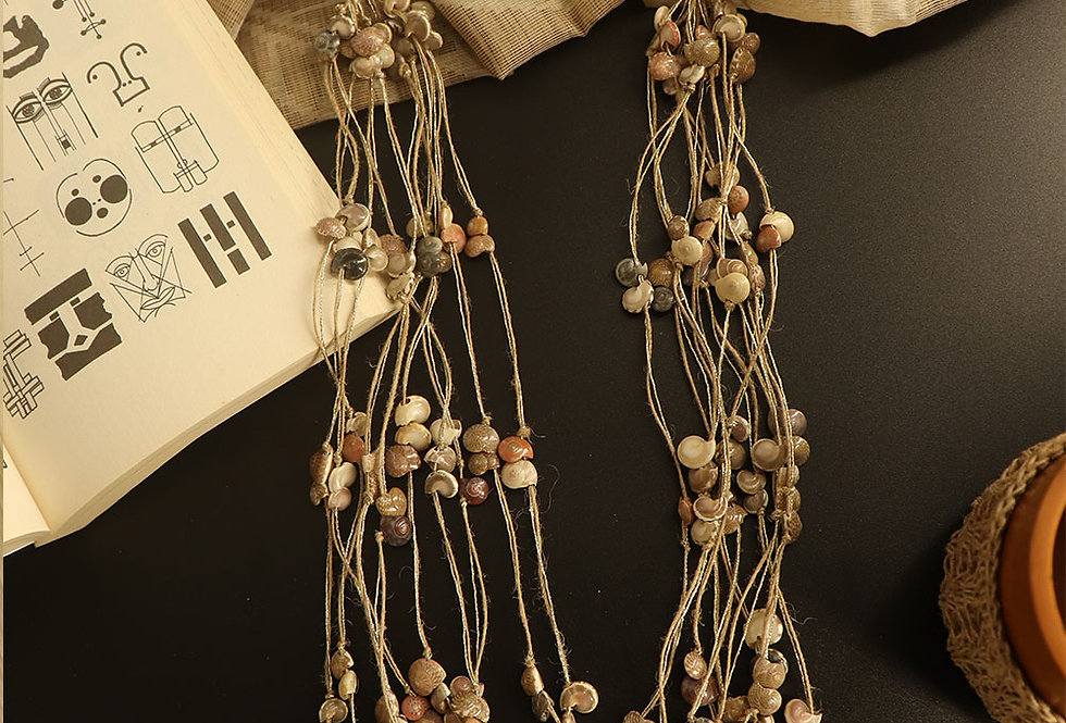 Layered jute shell necklace