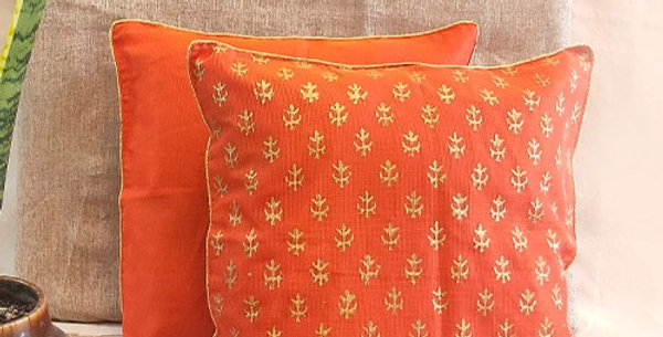 Handblock Printed Orange Kota Festive Cushion Cover