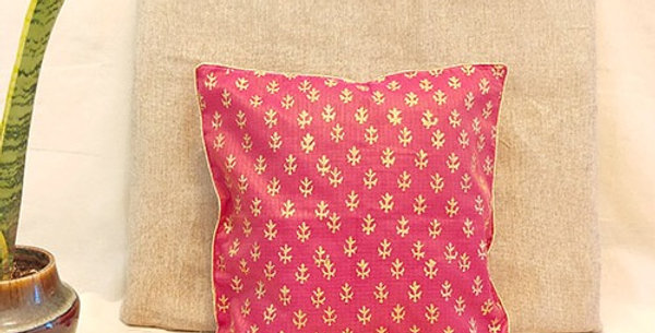 Handblock Printed Pink Kota Festive Cushion Cover
