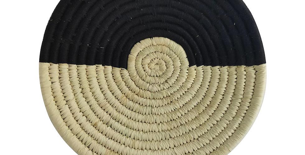 10' Natural and Black Handmade Wall Decor of Sabai Grass
