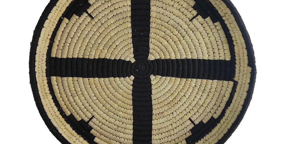 14' Natural and Black Handmade Wall Decor of Sabai Grass
