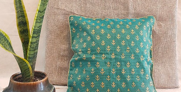 Handblock printed Green Kota festive cushion cover