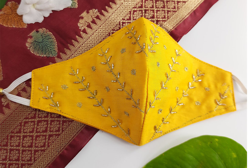 Yellow Festive Embroidered Mask