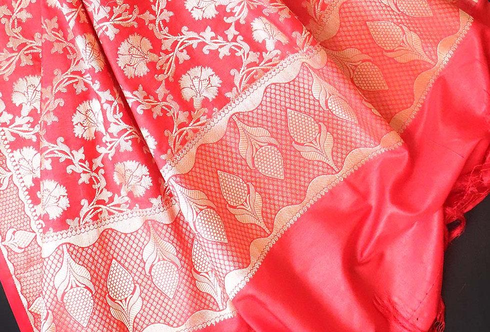 Red Pure Katan Banarasi Dupatta