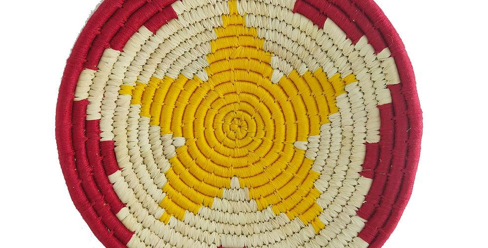 12' Natural, Yellow and Maroon Flower Handmade Wall Decor of Sabai Grass