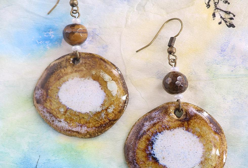 Genuine Tiger Eye Gemstone And Handmade Ceramic Dangler
