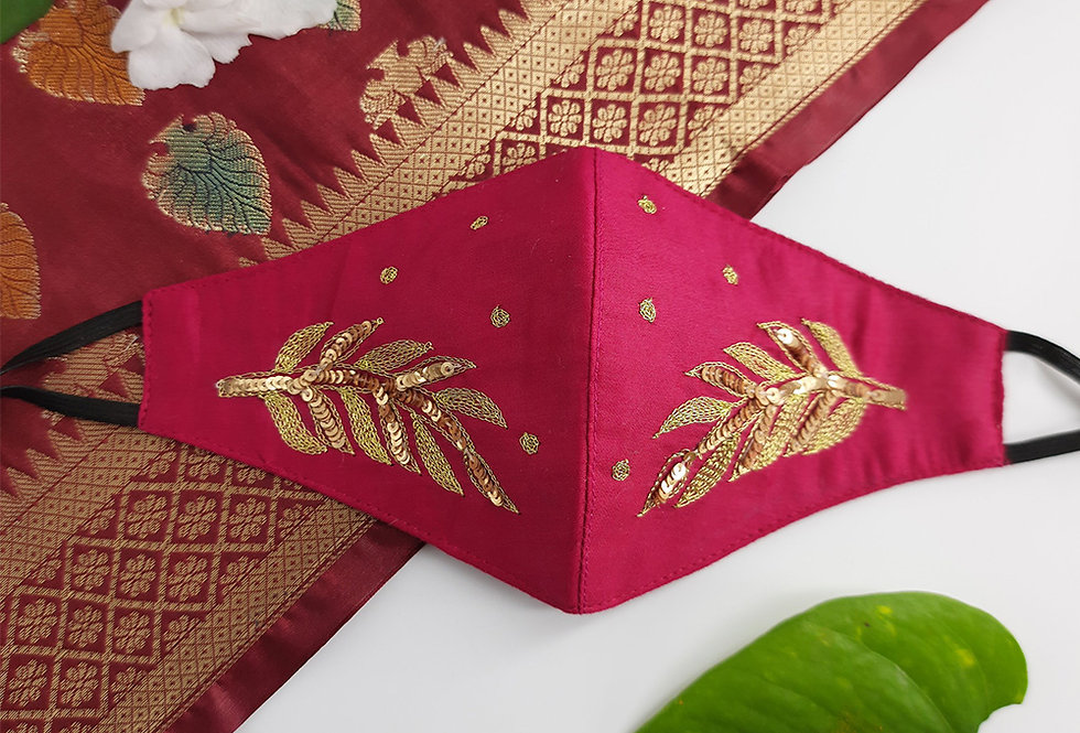 Pink Festive Hand Embroidery Mask