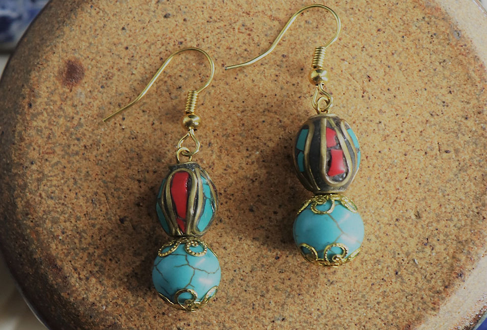 Genuine Gemstone Turquoise Earring