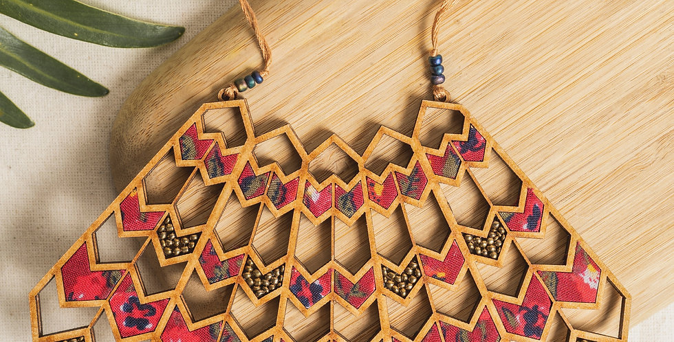 Red Wave Pattern Necklace