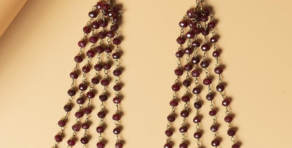 Ruby Red Genuine Semiprecious Gemstone and Dokra Brass Earring
