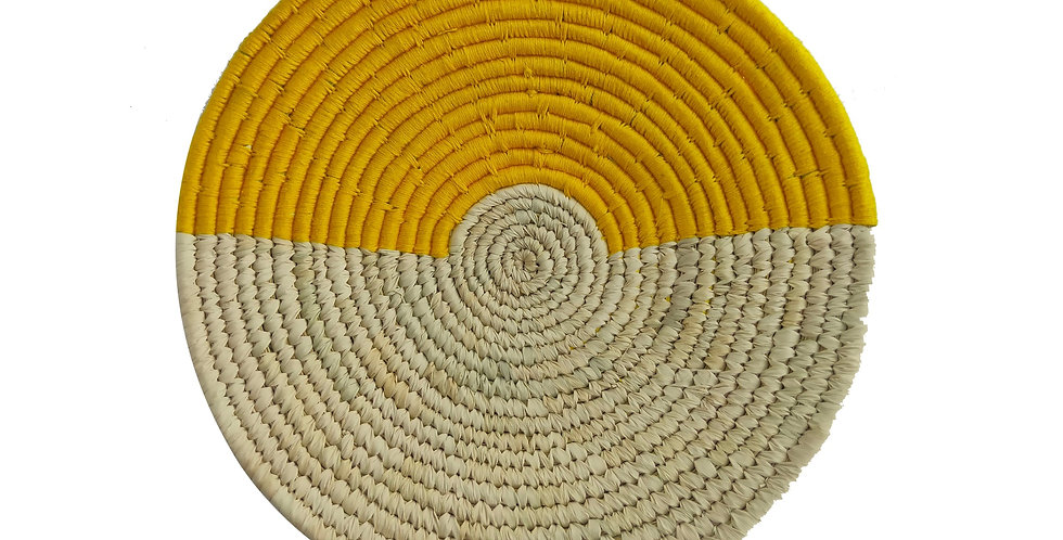 10' Natural and Yellow Handmade Wall Decor of Sabai Grass