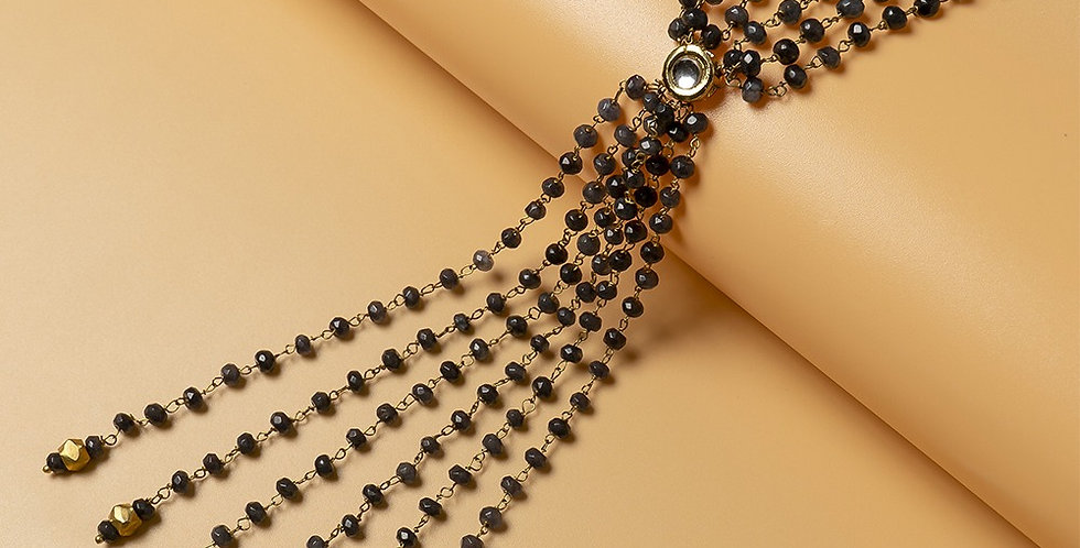 Grey Genuine Semiprecious Gemstone Lariat Necklace
