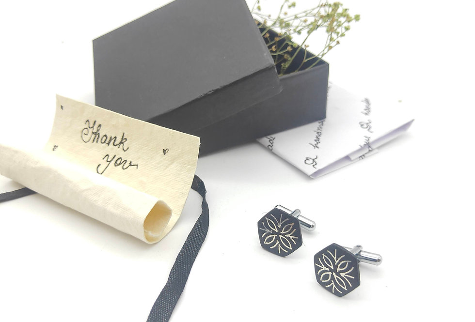 Handmade Bidri Pure Silver Inlay Floral Hexagonal Cuff Links