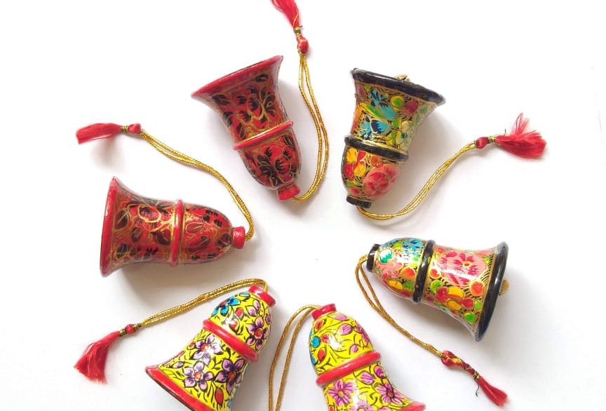 Multicolor Assorted Hand-Painted Christmas Bells With Gift Pouch- Set Of 6