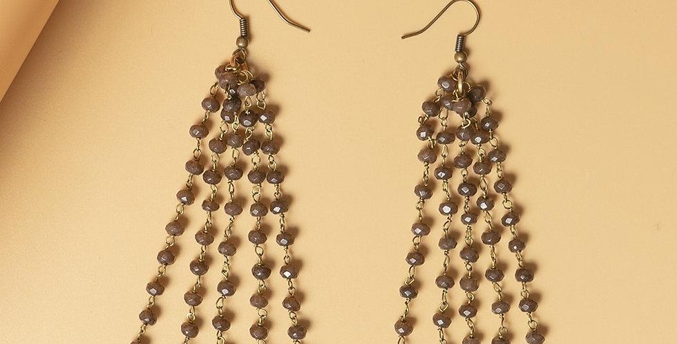 Brown Genuine Semiprecious Gemstone and Dokra Brass Earring