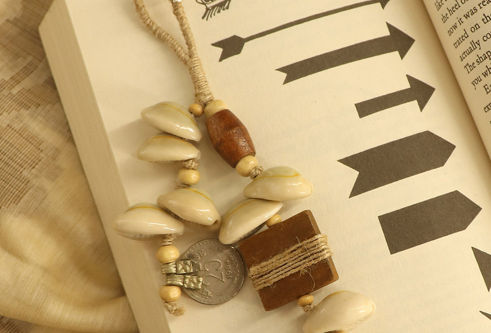 Earthy Wood, Cowry & Old Coin Bag Charm