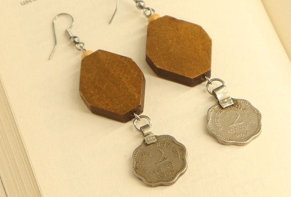 Wood & Repurposed Coin Dangler