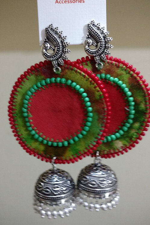 Round fabric earring