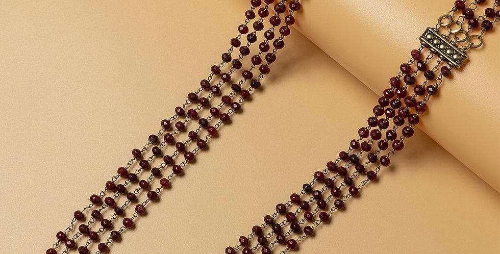 Ruby Red Multistrand Genuine Semiprecious Gemstone Necklace