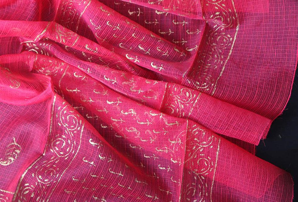Pink Kota Doria Hand Block-Printed Dupatta
