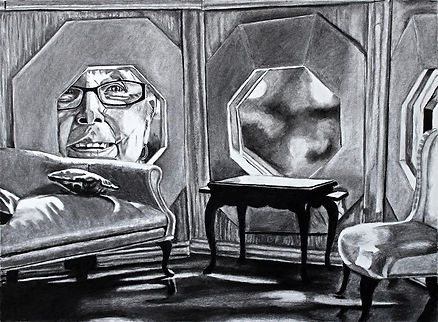 A charcoal drawing of Joanne Martin peering into a dollhouse through a window