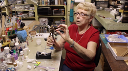 Joanne Martin working on miniature
