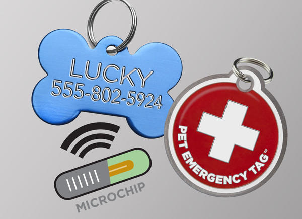 Standard ID tag, Pet Emergency Tag and microchip.