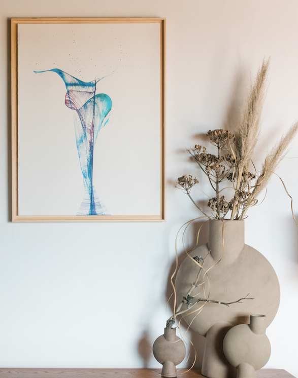 Ink Flower painting & vases.