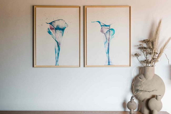 """Ink on paper flowers """"blue calas"""""""