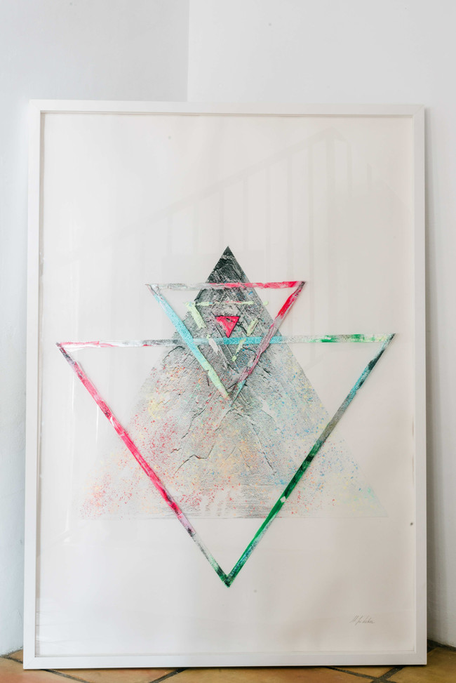 """""""Shapes & Spheres"""" Large sand & pigment """"Triangle of Life"""" Framed."""