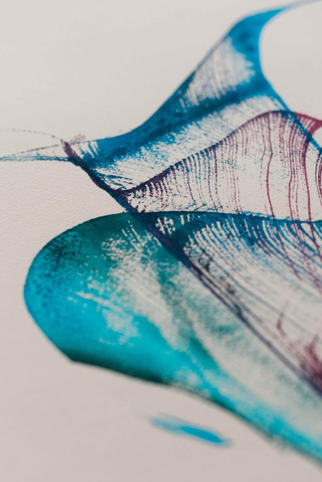 Ink on paper flower detail