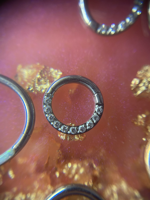 Diamanté Hinge Septum/Daith Ring