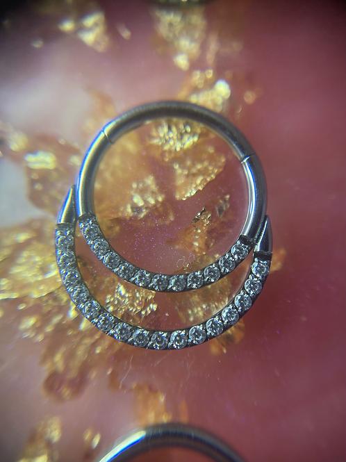 Double Diamanté Septum/Daith Ring