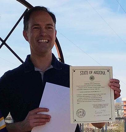 David holding HA Certificate AZ IMG_5312