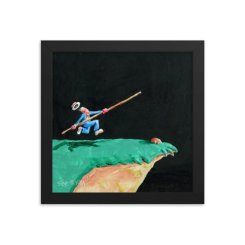 Lover's Leap Vaulting Man 10x10 Framed poster
