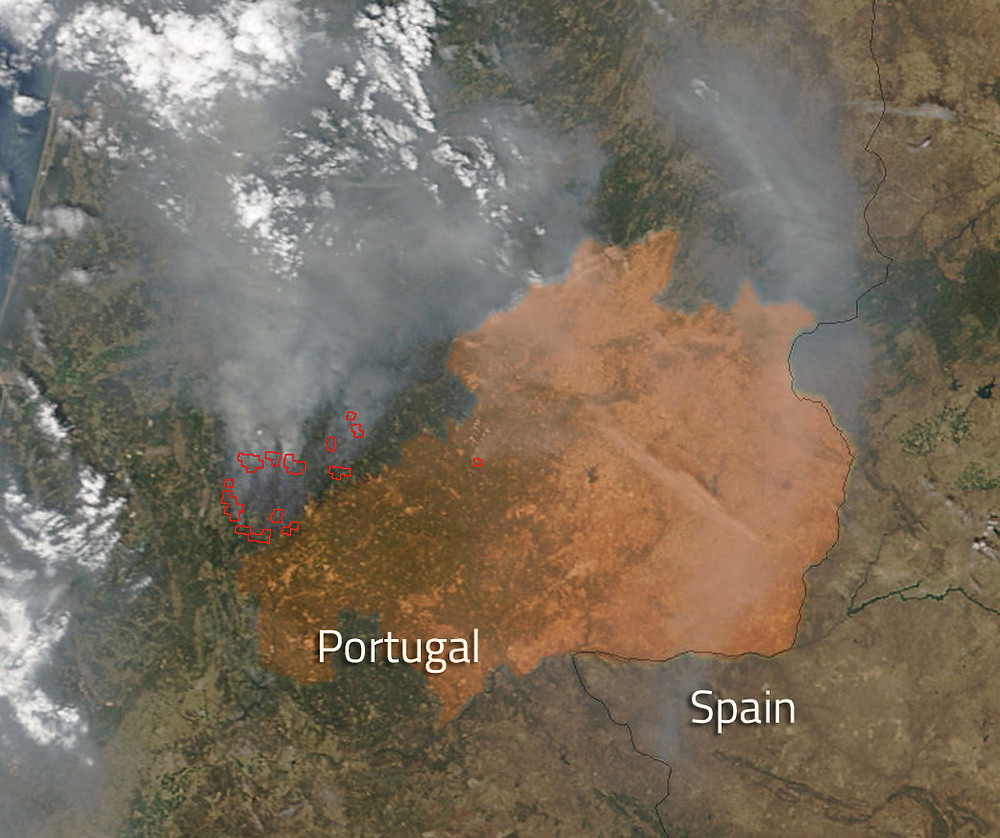 Wildfires on June 18, 2017, showing Castelo Branco district