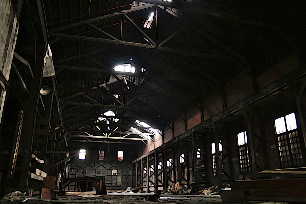 Inside the rat-infested main hall of the old Opsal, abandoned steel factory in Vancouver, BC