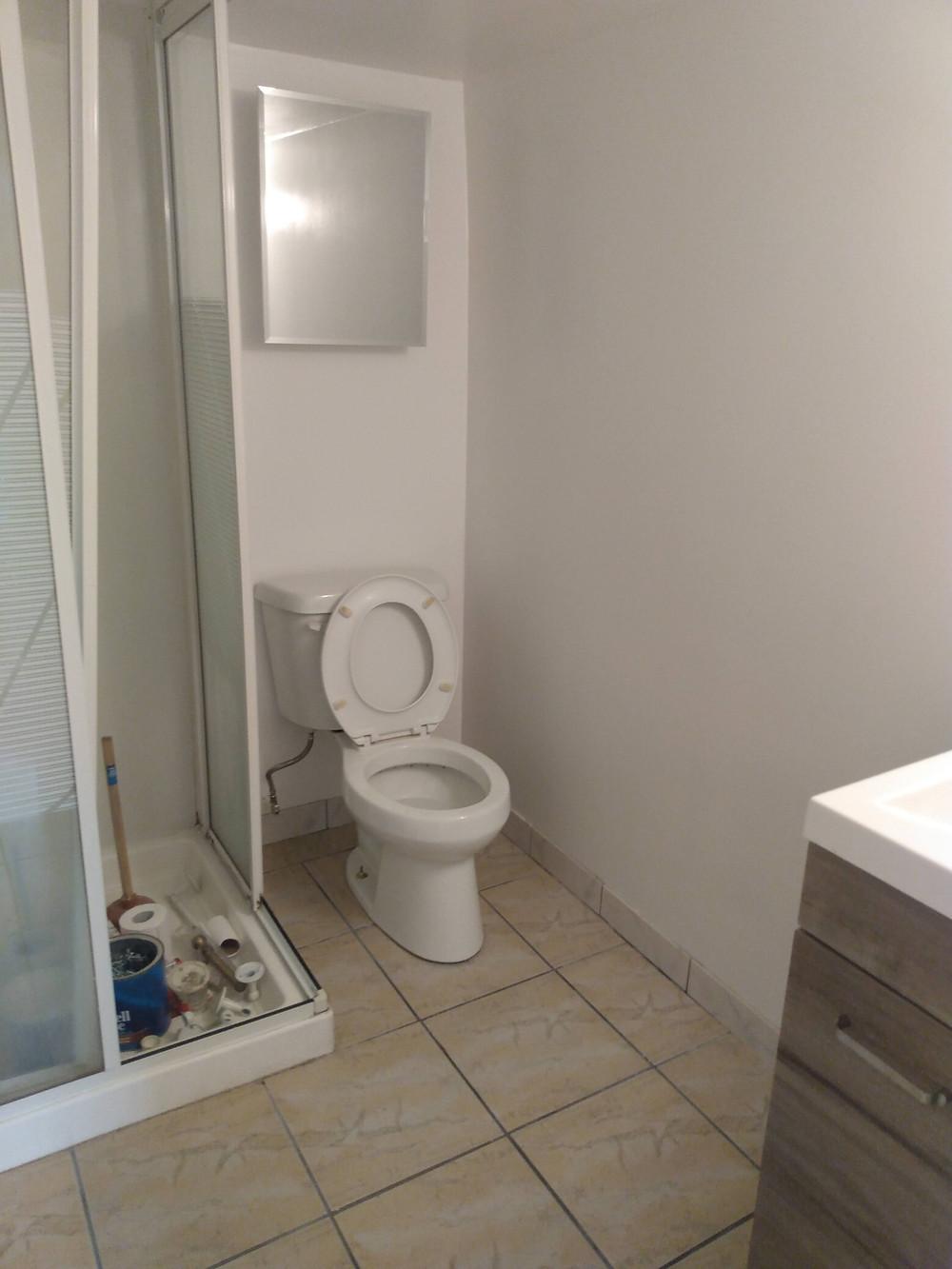 Small bathroom, no tub