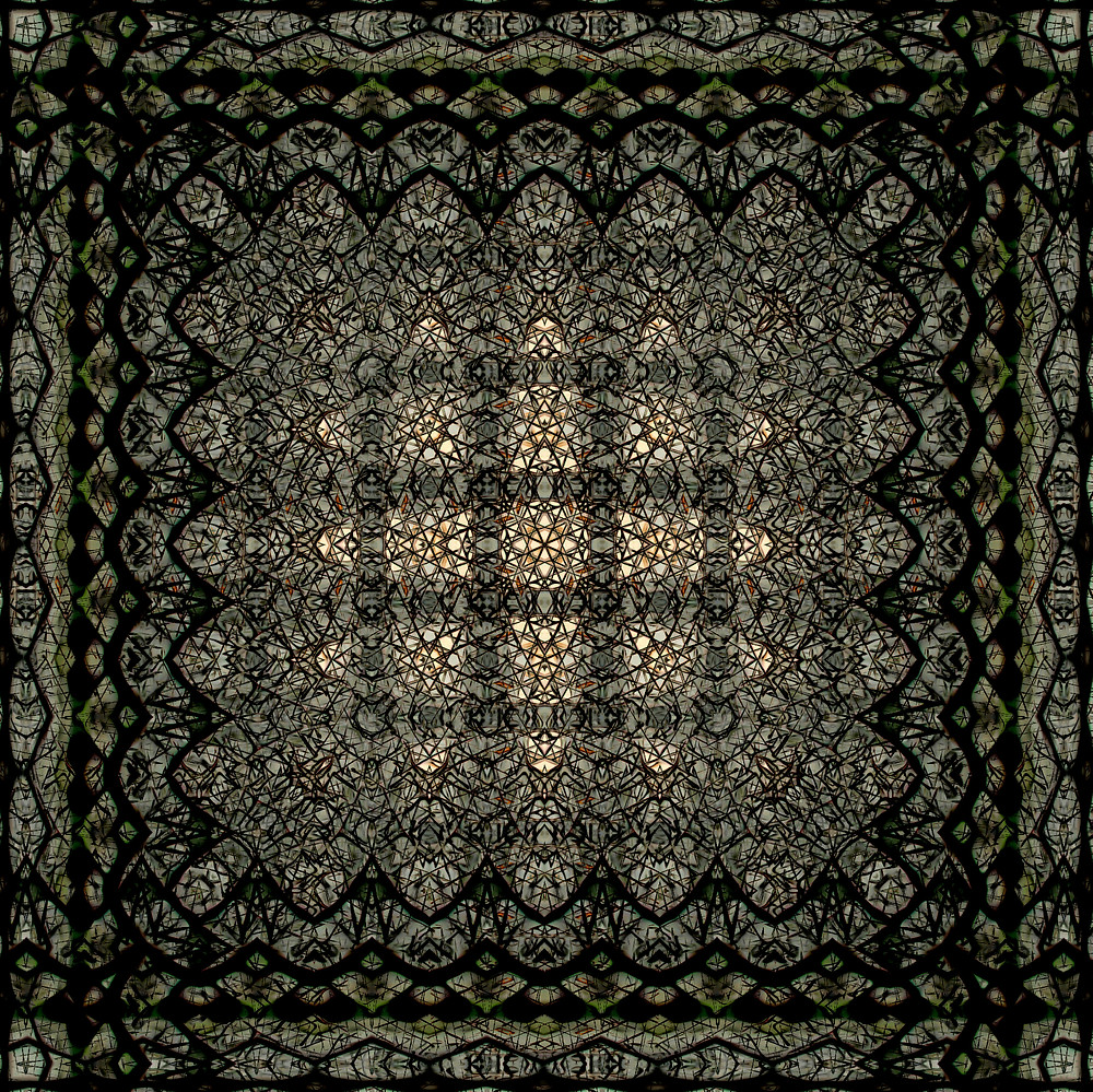 Faux Persian rug, but not really that much. Extremely detailed with a charcoal palette.