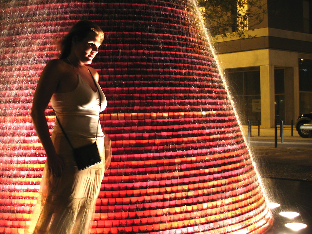 Lisbon, Portugal - Lisa is magnificent at night on the Expo grounds