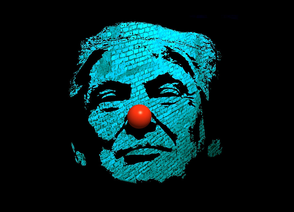 Donaled Trump's face composed of a brick wall in aqua, and also with a clown nose