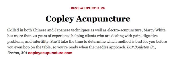 Copley Acupuncture Best of boston 2019 winner