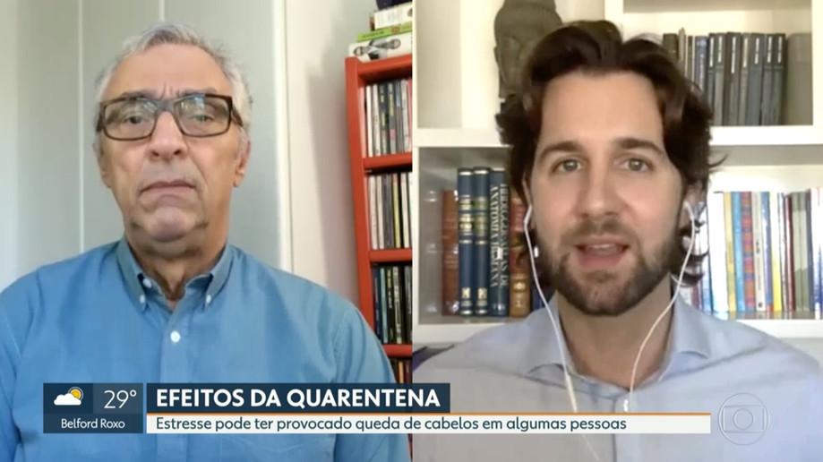 Entrevista na Globo sobre queda de cabelo na quarentena