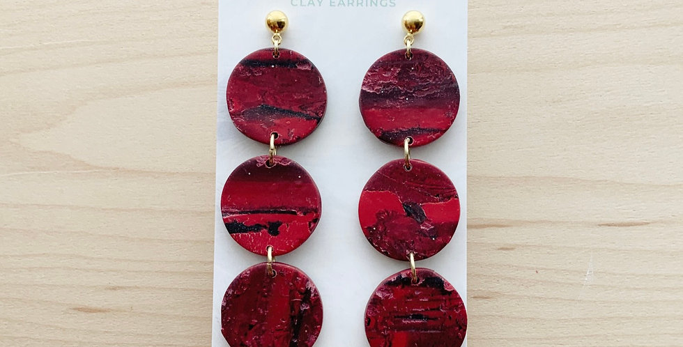 Red Marble Three Sisters | Clay Earrings