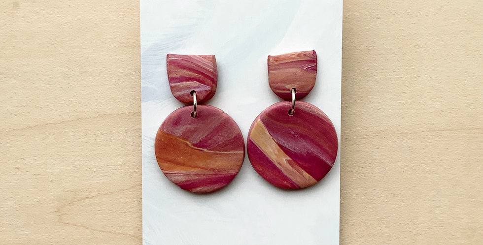 New Wine Fall Marble | Clay Earrings