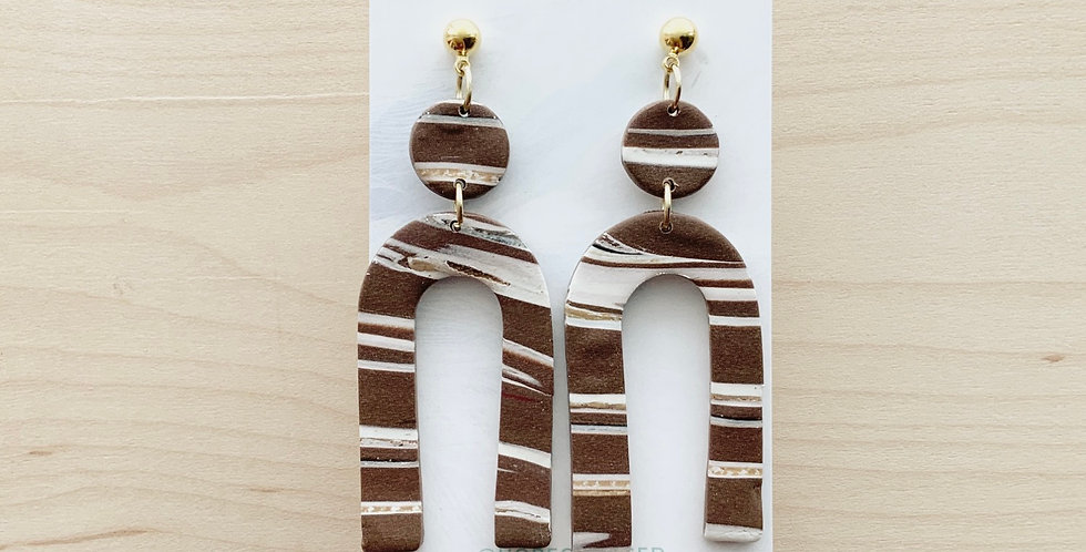 Stripped Chocolate Arches | Clay Earrings