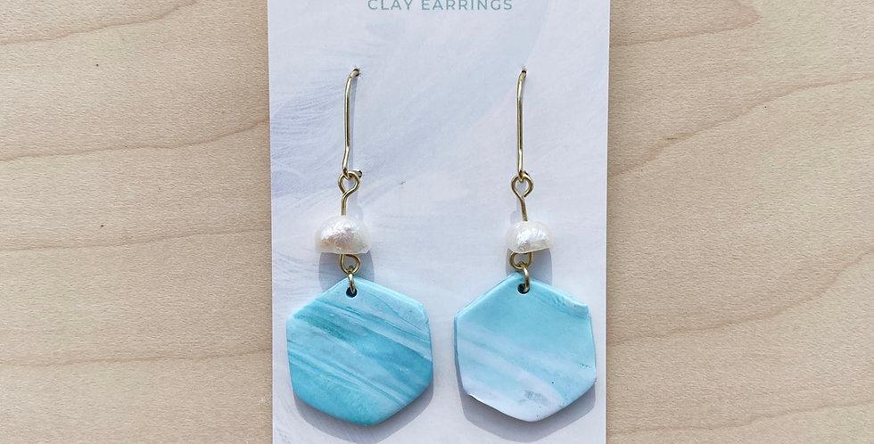 Abstract Aqua Hexagon II | Clay Earrings