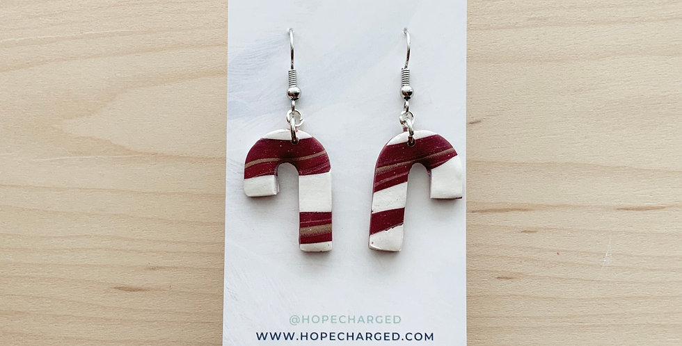 Candy Canes | Clay Earrings