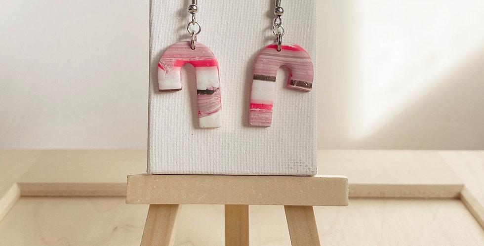 Joyful Candy Canes | Clay Earrings